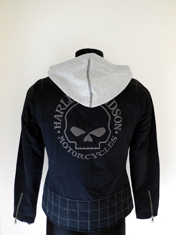 harley davidson skull 3 in 1 damen jacke mit hoodie kapuze. Black Bedroom Furniture Sets. Home Design Ideas