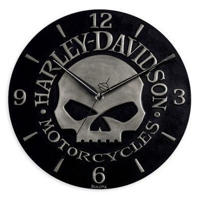 harley davidson skull sculpted wanduhr uhr 99366 10v ebay. Black Bedroom Furniture Sets. Home Design Ideas